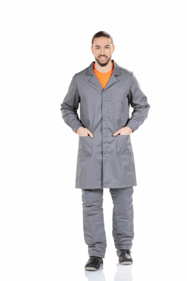 Bata de Homem para farda de trabalho na cor cinzenta e de manga comprida