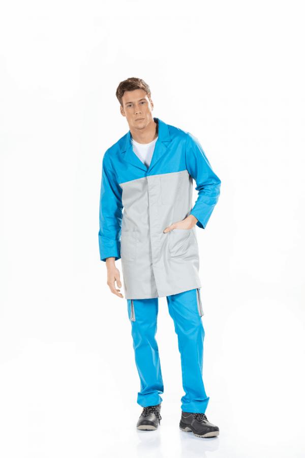 Trabalhador vestido com bata para homem de manga comprida, cor cinzenta e contraste nas mangas e na gola azuis