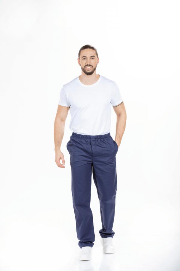 Homem vestido com calça hospitalar de cor azul marinha para farda de saúde