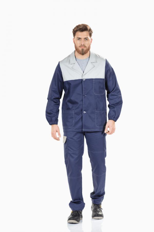 Homem com casaco de trabalho de cor azul com contraste cinzento para uniforme profissional