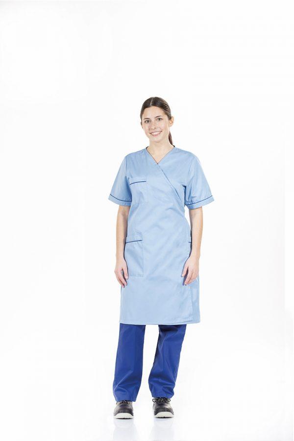 unifardas vestuario profissional workwear bata senhora azul frontal 1