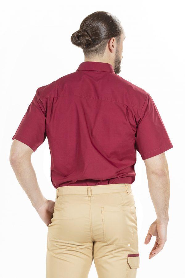unifardas vestuario profissional workwear calca camisa homem bordeaux bege costa1