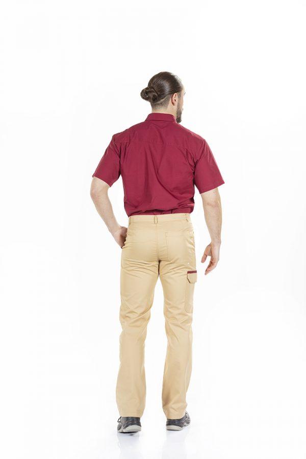 unifardas vestuario profissional workwear calca camisa homem bordeaux bege traseiro1 1