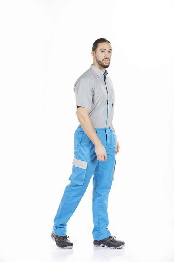 Calças trabalho homem para farda de trabalho de cor azul e camisa de manga curta