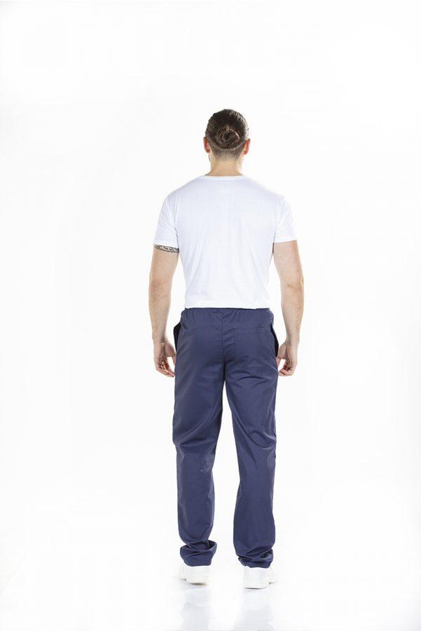unifardas vestuario profissional workwear calca homem branco marinho traseiro