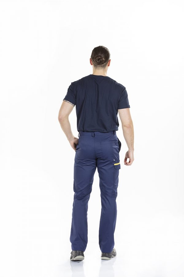unifardas vestuario profissional workwear calca homem marinho amarelo traseiro1