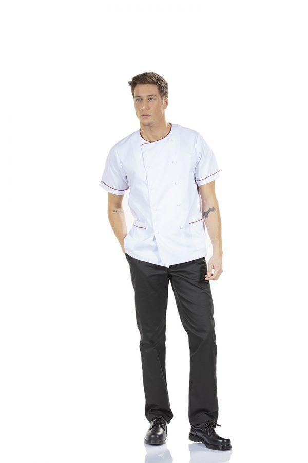 jaleco para chef de cozinha na cor branco e de manga curta