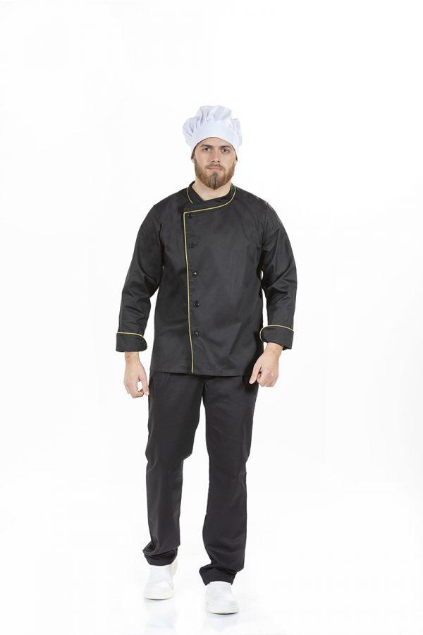 Homem vestido com Jaleca Chef de Cozinha para Uniforme de Trabalho