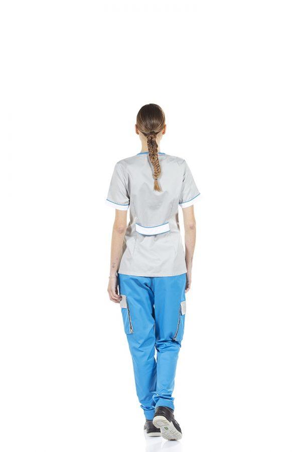 unifardas vestuario profissional workwear tunica frente cinza azul costa