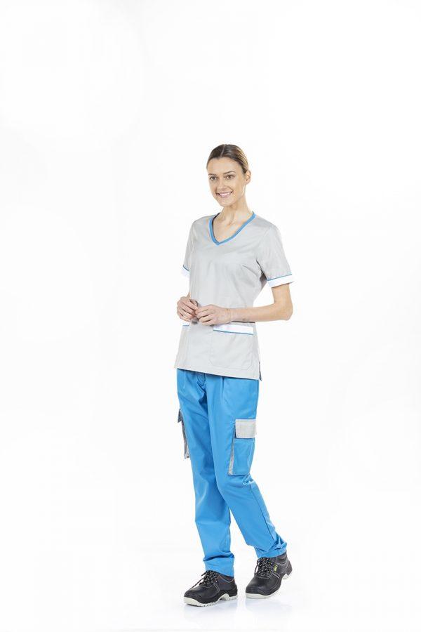unifardas vestuario profissional workwear tunica frente cinza azul frente