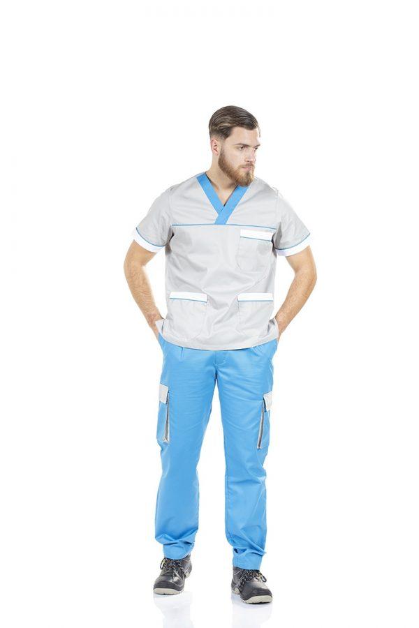 unifardas vestuario profissional workwear tunica homem unisexo cinza azul frente