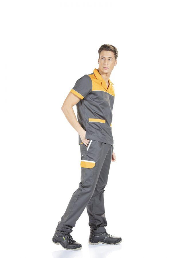 Homem vestido com uma calça para vestuário profissional