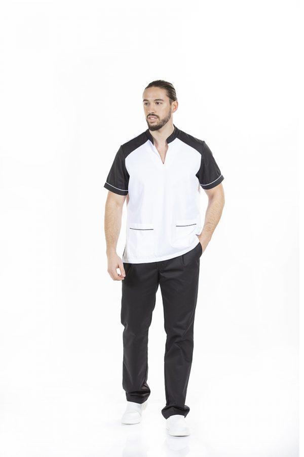 Homem com túnica masculina para farda de trabalho