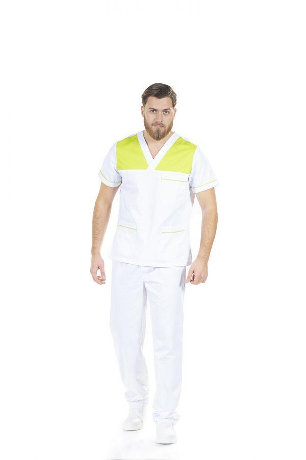 Homem vestido com túnica de trabalho masculina para uniforme de trabalho