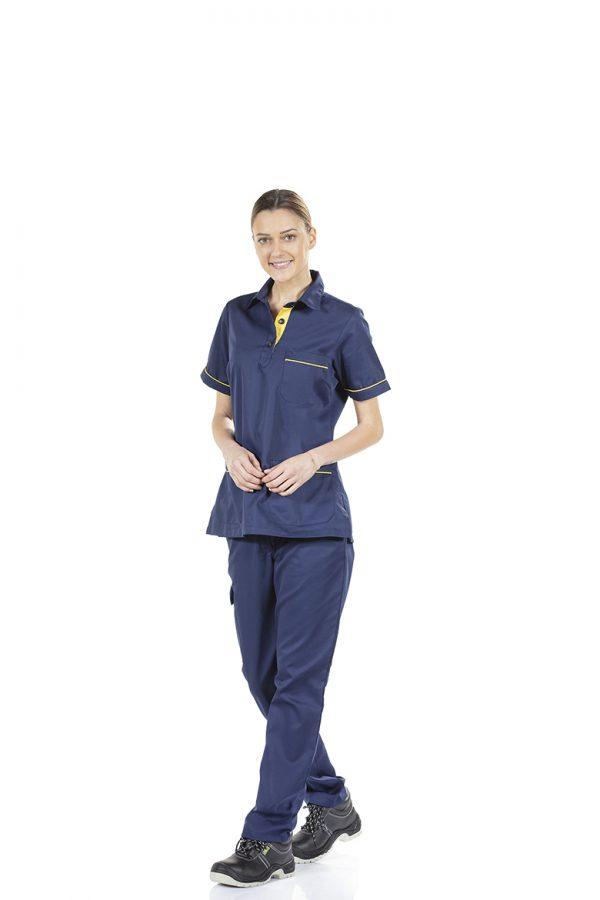 Trabalhadora com calça de sarja feminina para farda de trabalho