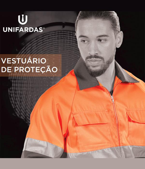 Capa do catálogo de vestuário de proteção da Unifardas