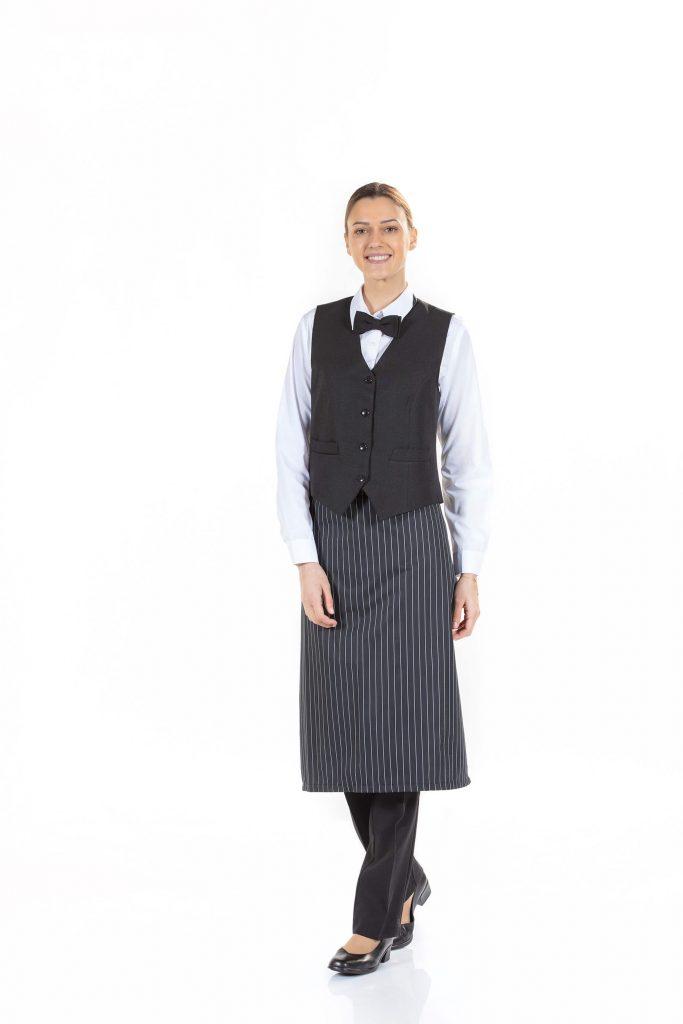 Roupa feminina para restaurao Avental e colete preto para senhora