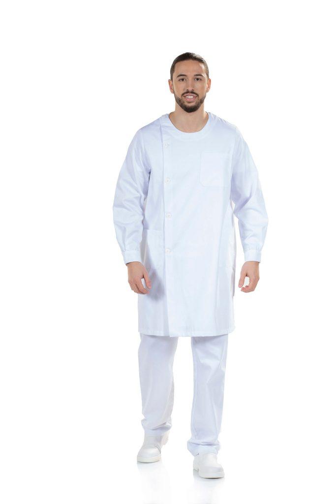 Bata branca de médico para fardas hospitalares