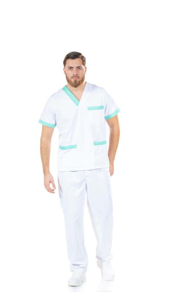 Fardas hospitalares na cor branca com contraste a verde