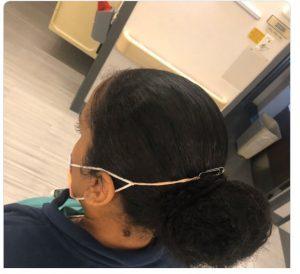 Proteção para máscara feita com clip e elástico