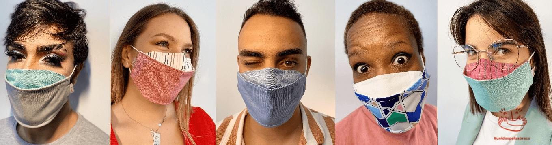 Modelos das máscaras de proteção desenvolvidas pela Unifardas em parceria com a Abraço