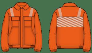 Blusão de trabalho cor de laranja para ser usado como uniformes personalizados