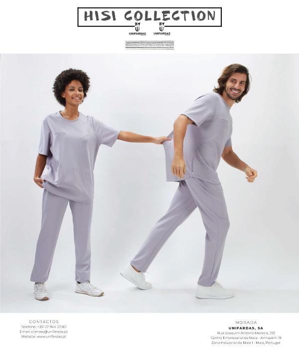 Capa de catálogo da marca de vestuário para a saúde HISI Collection