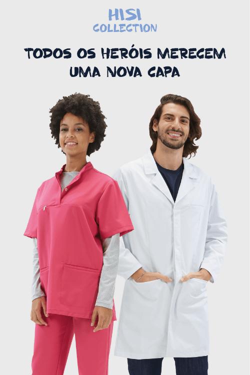 Homem e senhora vestidos com fardas de trabalho para a área da saúde
