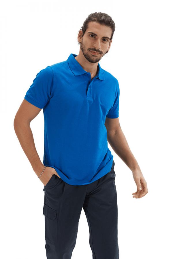 Polo de homem na cor azul para vestuário profissional