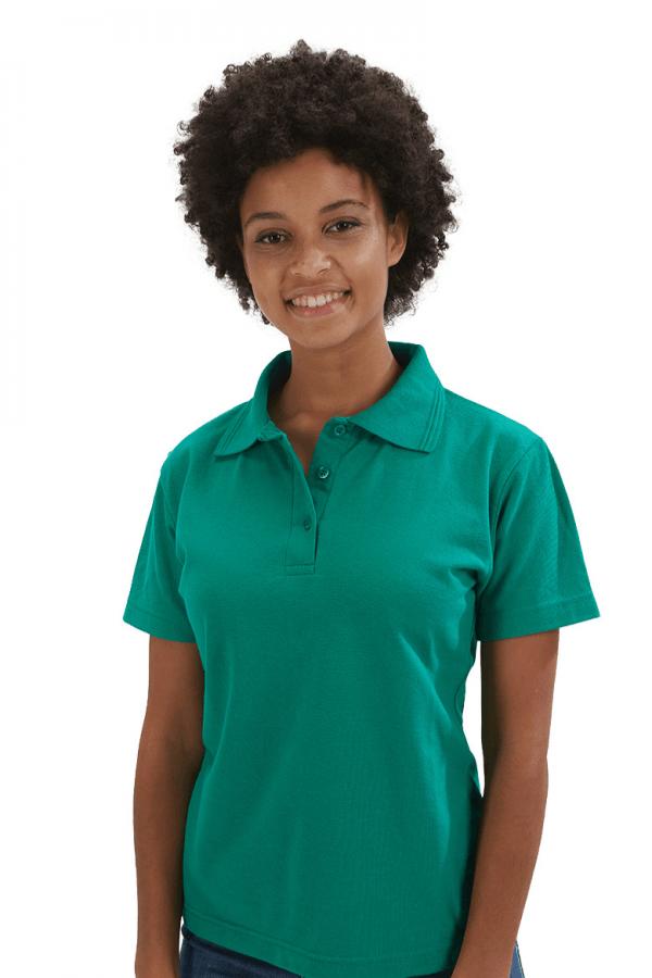 Polo feminino na cor verde para roupa de trabalho