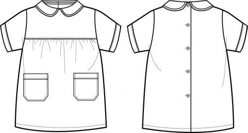 Batas escolares para menina com botões e aperto atrás