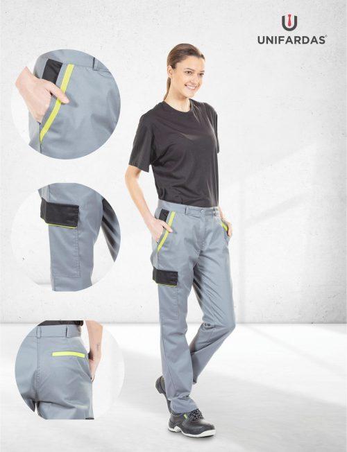 Senhora vestida com umas calças de trabalho para fardas profissionais